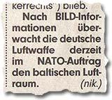 """""""Nach BILD-Informationen überwacht die deutsche Luftwaffe derzeit im NATO-Auftrag den baltischen Luftraum."""""""