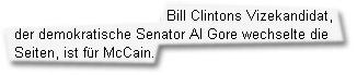 """""""Bill Clintons Vizekandidat, der demokratische Senator Al Gore wechselte die Seiten, ist für McCain."""""""