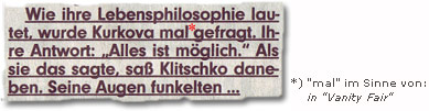 """Wie ihre Lebensphilosophie lautet, wurde Kurkova mal* gefragt. Ihre Antwort: """"Alles ist möglich."""" Als sie das sagte, saß Klitschko daneben. Seine Augen funkelten..."""