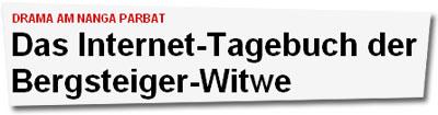 """""""Das Internet-Tagebuch der Bergsteiger-Witwe"""""""