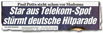 """""""Paul Potts steht schon vor Madonna: Star aus Telekom-Spot stürmt deutsche Hitparade"""""""