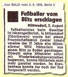 """""""Fußballer vom Blitz erschlagen"""""""