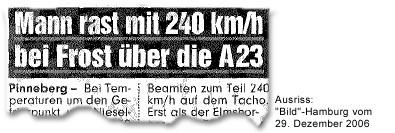 """""""Mann rast mit 240 km/h bei Frost über A23"""""""