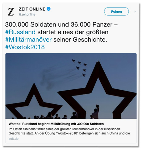 Screenshot eines Tweets von Zeit Online - 300.000 Soldaten und 36.000 Panzer - Russland startet eines der größten Militärmanöver seiner Geschichte