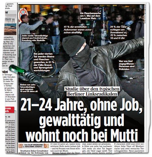 Artikel der B.Z., bebildert mit einem risiegen Foto, auf dem ein vermummter Mann gerade ausholt, um eine Bierflasche zu werfen. Dazu die Schlagzeile: Studie über den typischen Berliner Linksradikalen - 21-24 Jahre, ohne Job, gewalttätig und wohnt noch bei Mutti