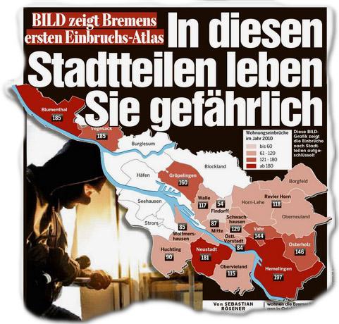 BILD ZEIGT BREMENS ERSTEN EINBRUCHS-ATLAS In diesen Stadtteilen leben Sie gefährlich