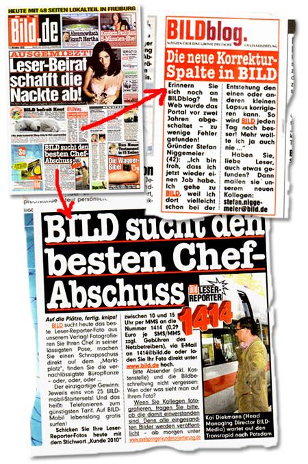 """""""Bild""""-Sonderveröffentlichung mit Datum """"1. Oktober 2007"""" und Schlagzeilen wie: """"Ausgemiezt! Leser-Beirat schafft die Nackte ab!"""" -- """"BILDblog -- Die neue Korrektur-Spalte in BILD"""" -- """"BILD sucht den besten Chef-Abschuss"""" -- """"Kanzlerin Pauli plant 5-Minuten-Ehe!"""""""