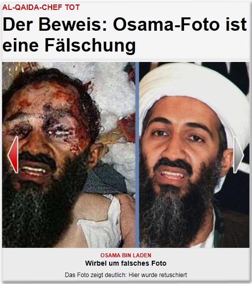 Al-Qaida-Chef tot Der Beweis: Osama-Foto ist eine Fälschung Osama bin Laden Wirbel um falsches Foto Das Foto zeigt deutlich: Hier wurde retuschiert
