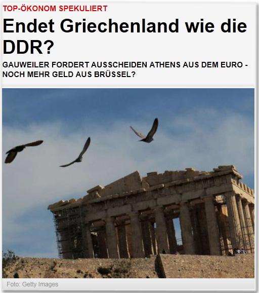 Top-Ökonom spekuliert Endet Griechenland wie die DDR? Gauweiler fordert Ausscheiden Athens aus dem Euro - Noch mehr Geld aus Brüssel?