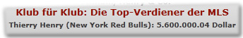 Klub für Klub: Die Top-Verdiener der MLS Thierry Henry (New York Red Bulls): 5.600.000.04 Dollar