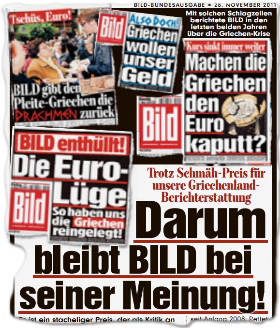 Trotz Schmäh-Preis für unsere Griechenland-Berichterstattung Darum bleibt BILD bei seiner Meinung!