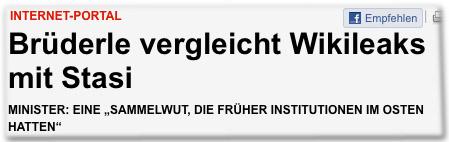 """Internet-Portal: Brüderle vergleicht Wikileaks mit Stasi. Minister: Eine """"Sammelwut, die früher Institutionen im Osten hatten"""""""