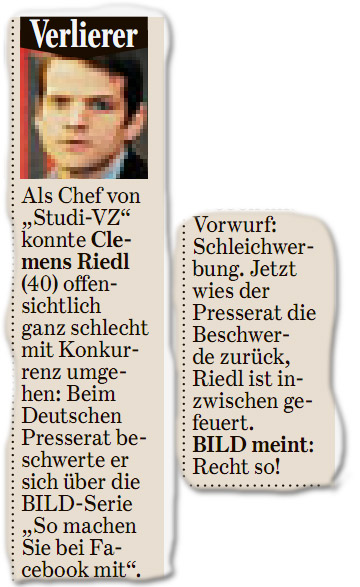 """Als Chef von """"Studi-VZ"""" konnte Clemens Riedl (40) offensichtlich ganz schlecht mit Konkurrenz umgehen: Beim Deutschen Presserat beschwerte er sich über die BILD-Serie """"So machen Sie bei Facebook mit"""". Vorwurf: Schleichwerbung. Jetzt wies der Presserat die Beschwerde zurück, Riedl ist inzwischen gefeuert. BILD meint: Recht so!"""