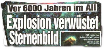 """""""Vor 6000 Jahren im All: Explosion verwüstet Sternenbild"""""""
