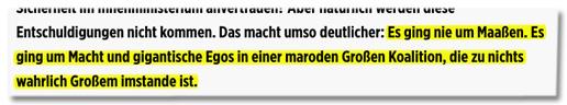 Screenshot Bild.de - Kommentar von Bild-Chef Julian Reichelt - Das macht umso deutlicher: Es ging nie um Maaßen. Es ging um Macht und gigantische Egos in einer maroden Großen Koalition, die zu nichts wahrlich Großem imstande ist.