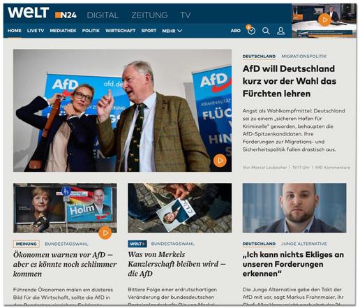 Screenshot von der Welt.de-Startseite von gestern Abend, auf der vier Artikel über die AfD ganz oben auf der Seite zu sehen waren. - Überschriften: AfD will Deutschland kurz vor der Wahl das Fürchten lehren - Ökonomen warnen vor AfD, aber es könnte noch schlimmer kommen - Was von Merkels Kanzlerschaft bleiben wird, die AfD - Ich kann nichts Ekliges an unseren Forderungen erkennen
