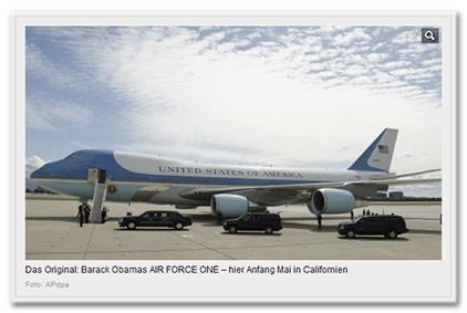 Das Original: Barack Obamas AIR FORCE ONE - hier Anfang Mai in Californien