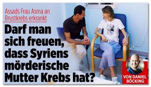 Screenshot Bild.de - Assads Frau Asma an Brustkrebs erkrankt - Darf man sich freuen, dass Syriens mörderische Mutter Krebs hat?