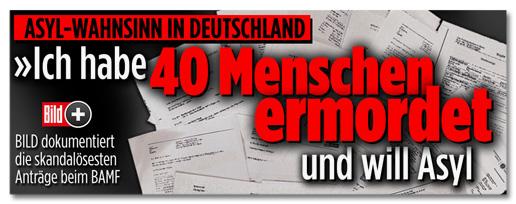 Screenshot Bild.de - Asyl-Wahnsinn in Deutschland - Ich habe 40 Menschen ermordet und will Asyl