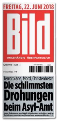 Ausriss Bild-Titelseite - Terrorpläne, Mord, Christenhetze - Die schlimmsten Drohungen beim Asyl-Amt