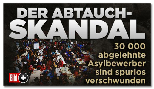 Screenshot Bild.de - Der Abtauch-Skandal - 30000 abgelehnte Asylbewerber sind spurlos verschwunden