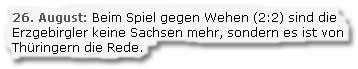 """""""Beim Spiel gegen Wehen (2:2) sind die Erzgebirgler keine Sachsen mehr, sondern es ist von Thüringern die Rede."""""""