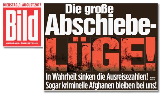Ausriss Bild-Titelseite - Die große Abschiebelüge! In Wahrheit sinken die Ausreisezahlen! Sogar kriminelle Afghanen bleiben bei uns!