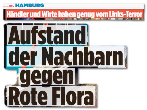 Ausriss Bild-Zeitung - Händler und Wirte haben genug vom Links-Terror - Aufstand der Nachbarn gegen Rote Flora