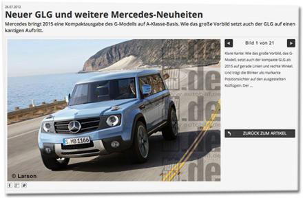 Neuer GLG und weitere Mercedes-Neuheiten: Mercedes bringt 2015 eine Kompaktausgabe des G-Modells auf A-Klasse-Basis. Wie das große Vorbild setzt auch der GLG auf einen kantigen Auftritt.