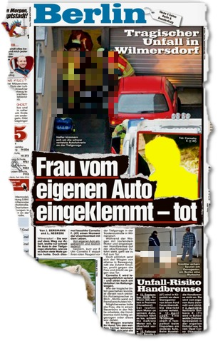 Frau von eigenem Auto eingeklemmt - tot