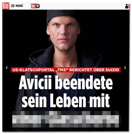 Screenshot Bild.de - US-Klatschportal TMZ berichtet über Suizid - Avicii beendete seine Leben mit ...