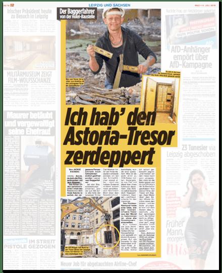 Ausriss Bild-Zeitung - Der Baggerfahrer von der Hotel-Baustelle - Ich habe den Astoria-Tresor zerdeppert