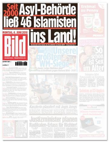 Ausriss Bild-Zeitung -Seit 2000 - Asyl-Behörde ließ 46 Islamisten ins Land!