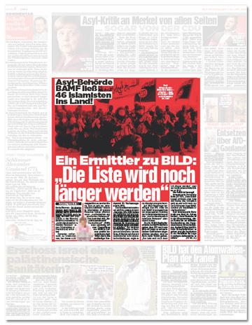 Ausriss Bild-Zeitung -Asylbehörde Bamf ließ 46 Islamisten ins Land! Ein Ermittler zu Bild: Die Liste wird noch länger werden