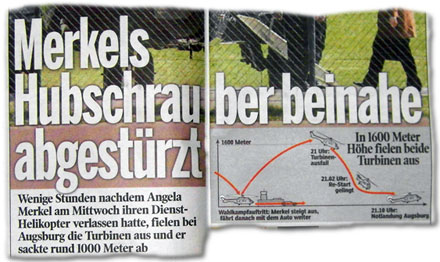 Merkels Hubschrauber beinahe abgestürzt!