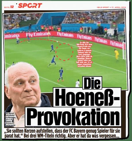 Ausriss Bild-Zeitung - Die Hoeneß-Provokation