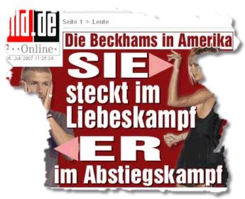 Die Beckhams in Amerika. SIE steckt im Liebeskampf. ER im Abstiegskampf