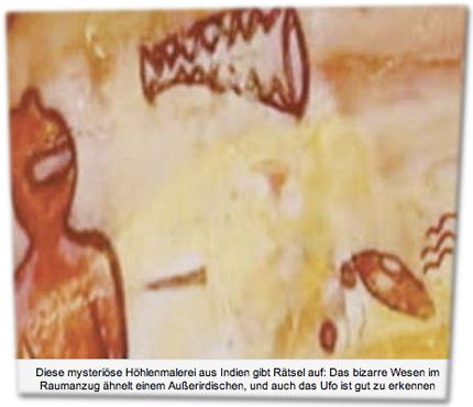 Diese mysteriöse Höhlenmalerei aus Indien gibt Rätsel auf: Das bizarre Wesen im Raumanzug ähnelt einem Außerirdischen, und auch das Ufo ist gut zu erkennen