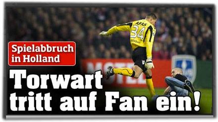 Spielabbruch in Holland: Torwart tritt auf Fan ein
