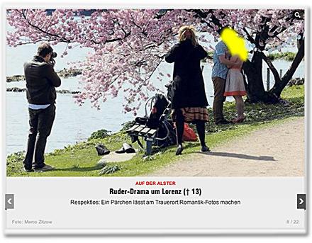 Respektlos: Ein Pärchen lässt am Trauerort Romantik-Fotos machen