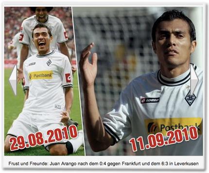 Frust und Freunde: Juan Arango nach dem 0:4 gegen Frankfurt und dem 6:3 in Leverkusen