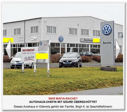 Dieses Autohaus in Oderwitz gehört der Familie. Birgit K. ist Geschäftsführerin