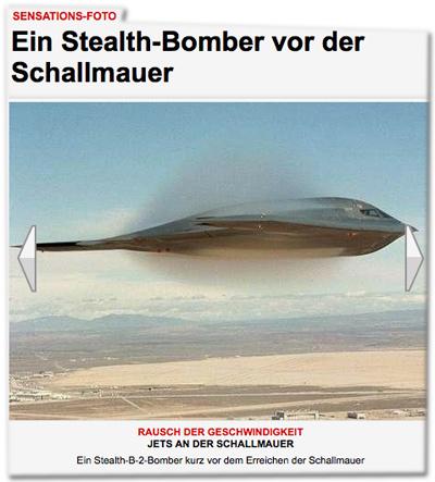 Sensations-Foto: Ein Stealth-Bomber vor der Schallmauer. Ein Stealth-B-2-Bomber kurz vor dem Erreichen der Schallmauer