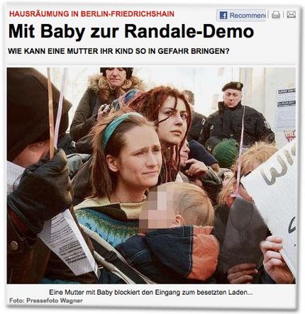 Mit Baby zur Randale-Demo: Wie kann eine Mutter ihr Kind so in Gefahr bringen?