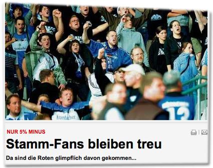 Nur 5% Minus: Stamm-Fans bleiben treu. Da sind die Roten glimpflich davon gekommen...