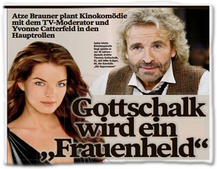 """Produzent Atze Brauner plant Kinokomödie mit dem TV-Moderator und Yvonne Catterfeld in den Hauptrollen: Thomas Gottschalk wird ein """"Frauenheld"""""""