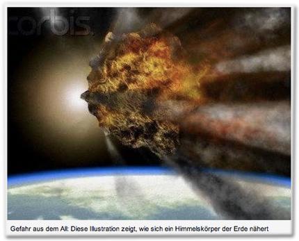 corbis. Gefahr aus dem All: Diese Illustration zeigt, wie sich ein Himmelskörper der Erde nähert