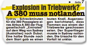 Explosion in Triebwerk? A380 muss notlanden