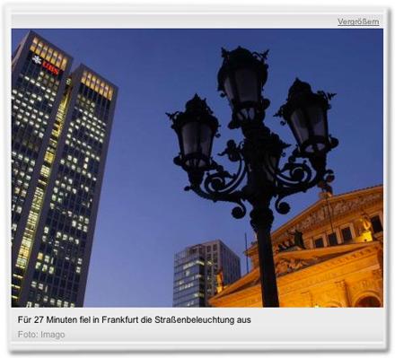 Für 27 Minuten fiel in Frankfurt die Straßenbeleuchtung aus