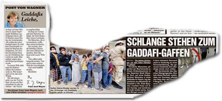 Schlange stehen zum Gaddafi-Gaffen. Halb nackt, blutverschmiert: der Leichnam Gaddafis im Kühlhaus.
